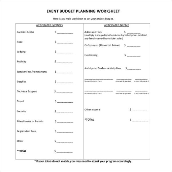 Concert Budget Template
