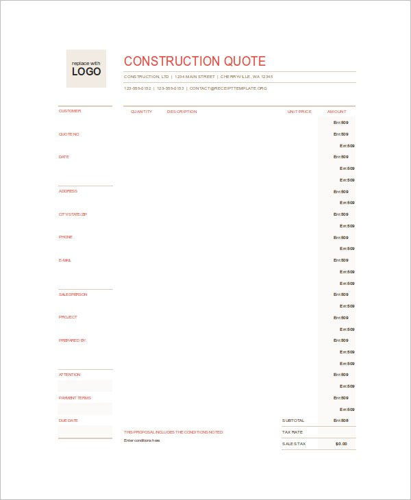 Construction Quote Template Excel