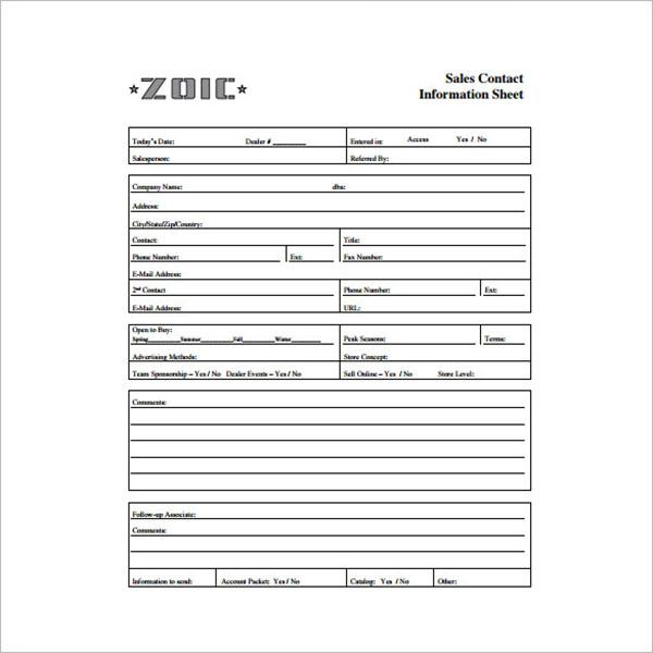 Contact Information Sheet Template