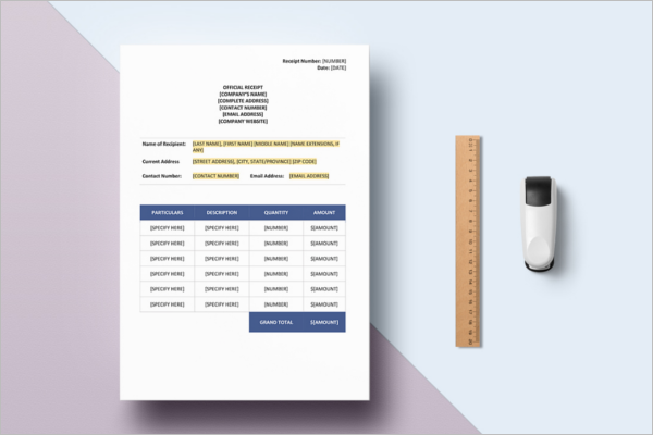 Contractor Receipt Payment Template