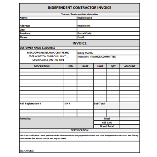 Contractor Receipt Template Excel