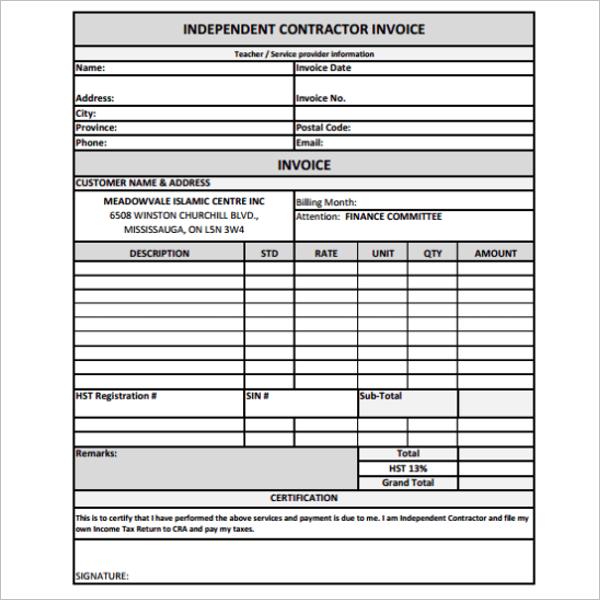Contractor Receipt Template Excel