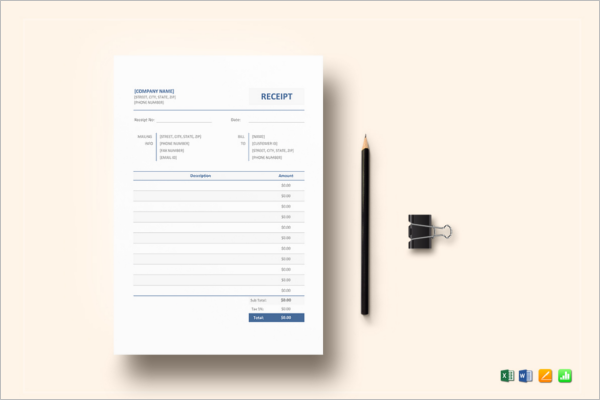 Contractor Receipt Template Word