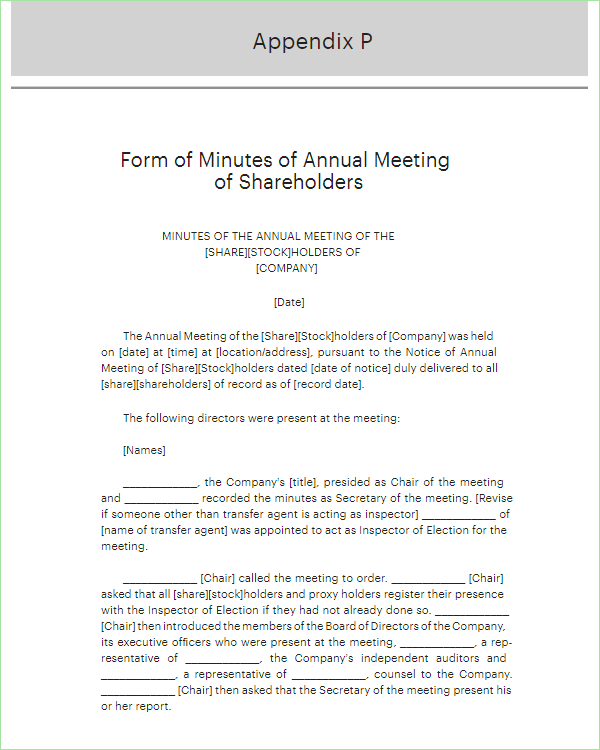 Corporate Meeting Minutes Form Template