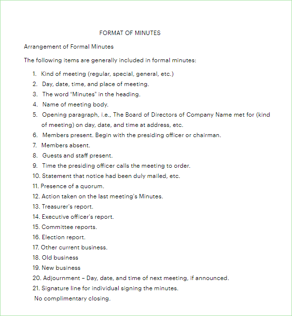 Corporate Meeting Minutes Format