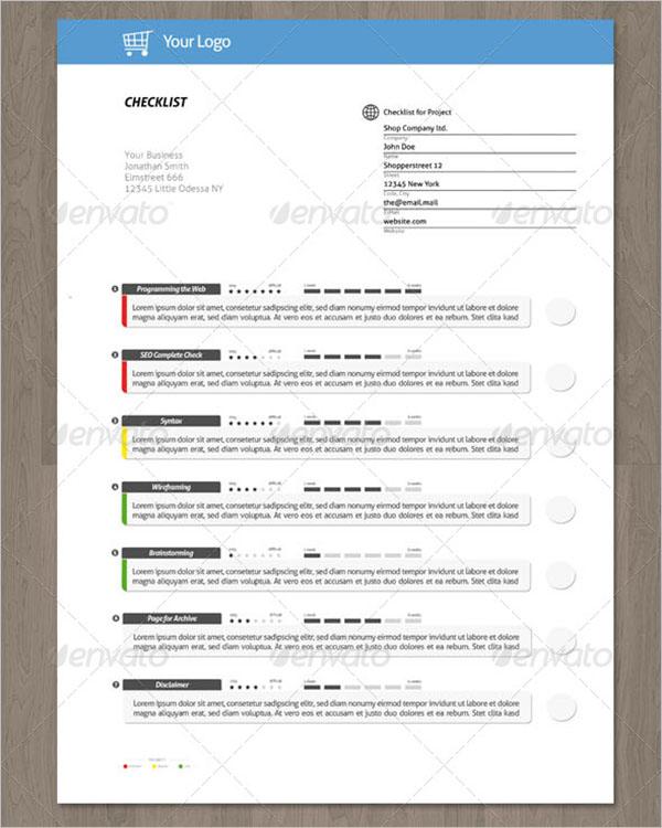 Creative Checklist Template