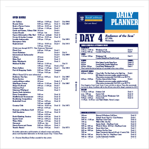 Cruise Campus Itinerary Template Example