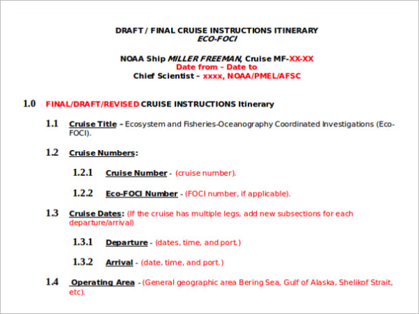 Cruise Instruction Free Itinerary Template
