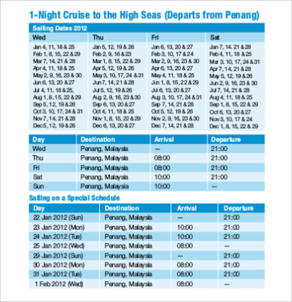 Cruise Itinerary PDF Template