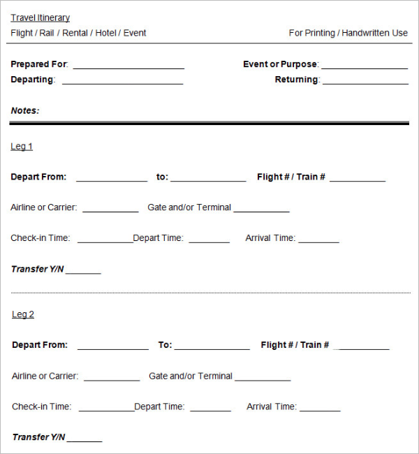 Cruise Itinerary Templates
