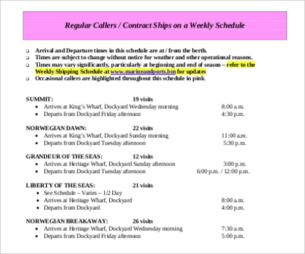 Cruise Port Format Itinerary Template