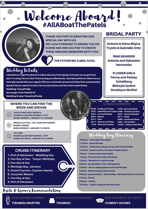 Cruise Ship Wedding Itinerary Template