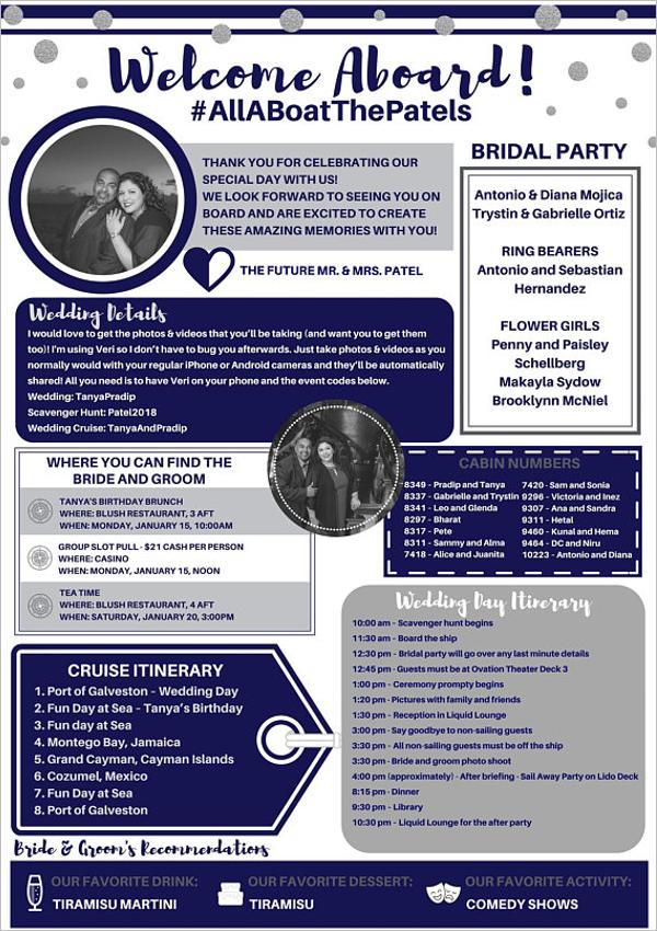 Cruise Ship Wedding Itinerary Template