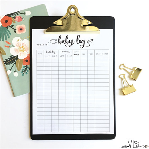 Daily Baby Log Template