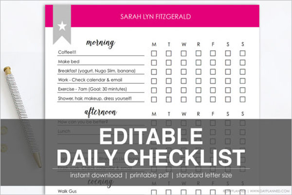 Daily Checklist Template Printable