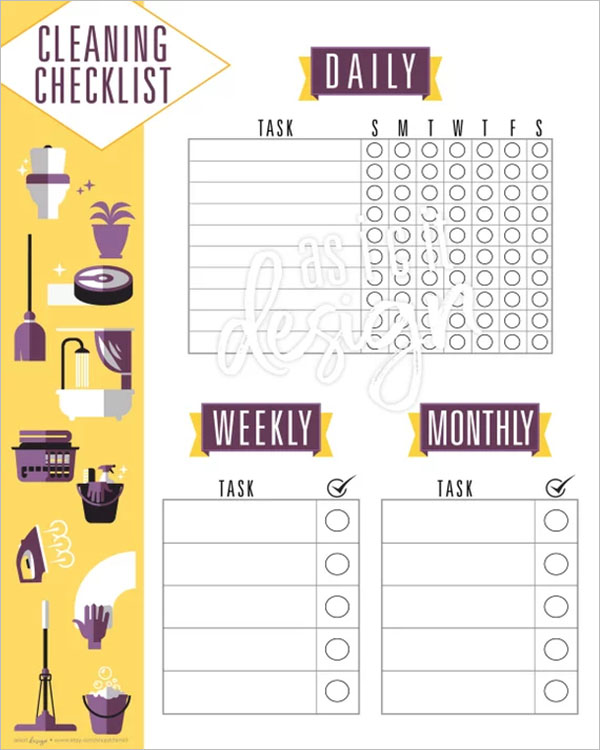 Daily Cleaning Checklist Format