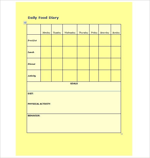 Daily Food Log Template Download
