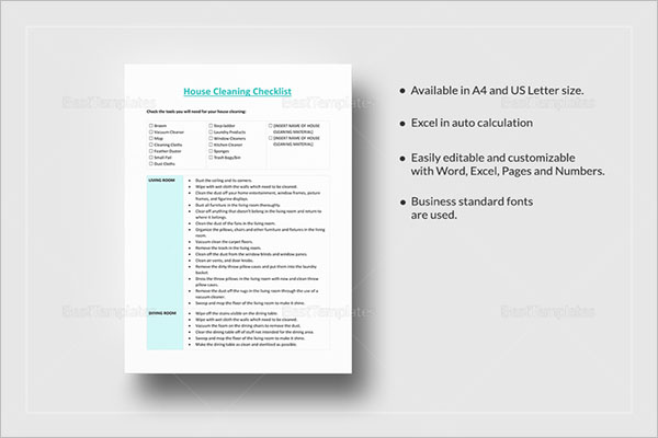 Daily House Cleaning Checklist Template