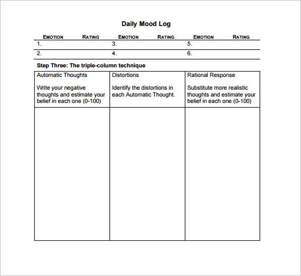 Daily Mood Log Template