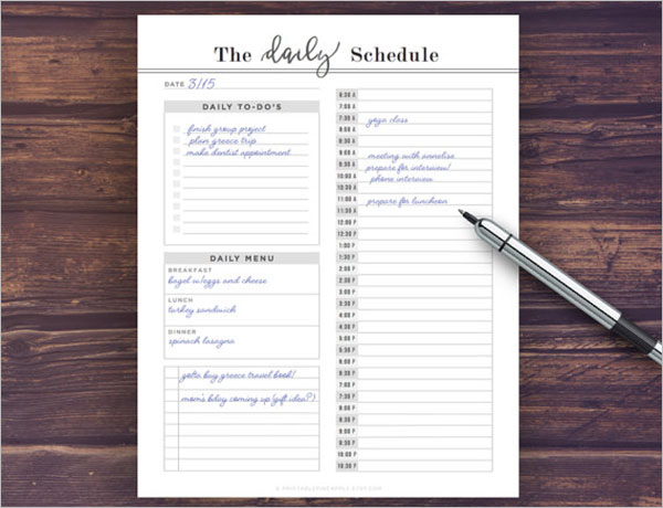 Daily Schedule Checklist Template