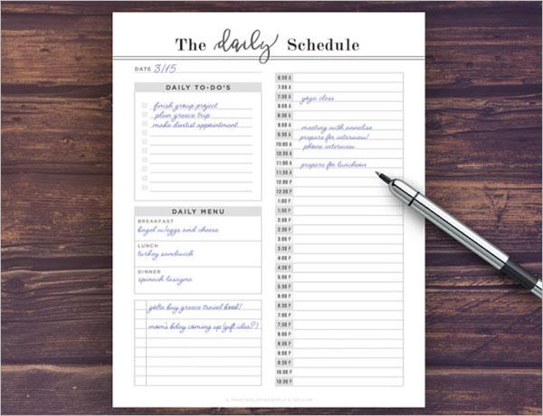 Daily Schedule Checklist Template