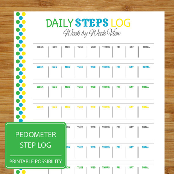 Daily Steps Log Template