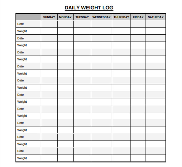 Daily Weight Template
