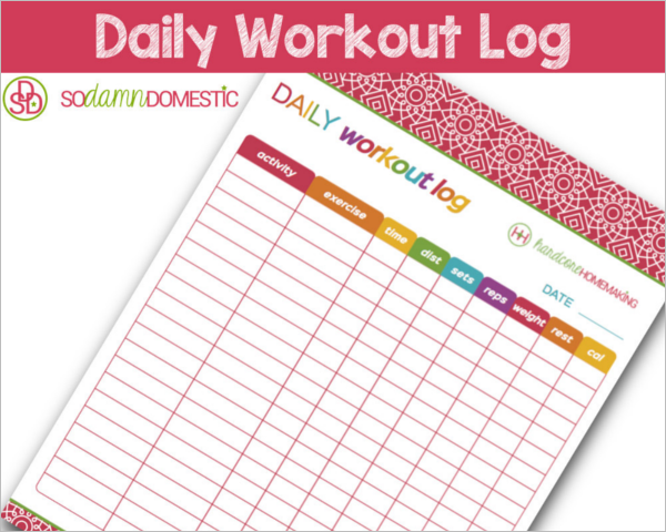 Daily Workout Log Template