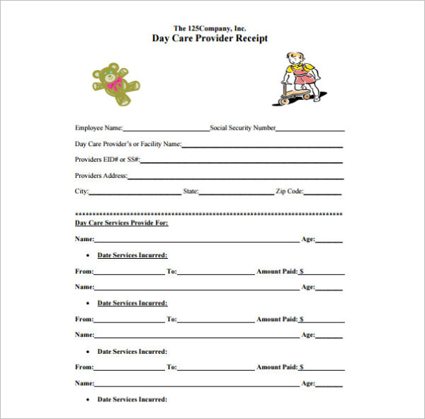 Day Care Provider Receipt Template