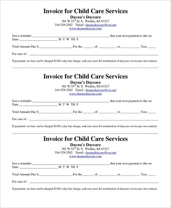 Day Care Tax Receipt Template