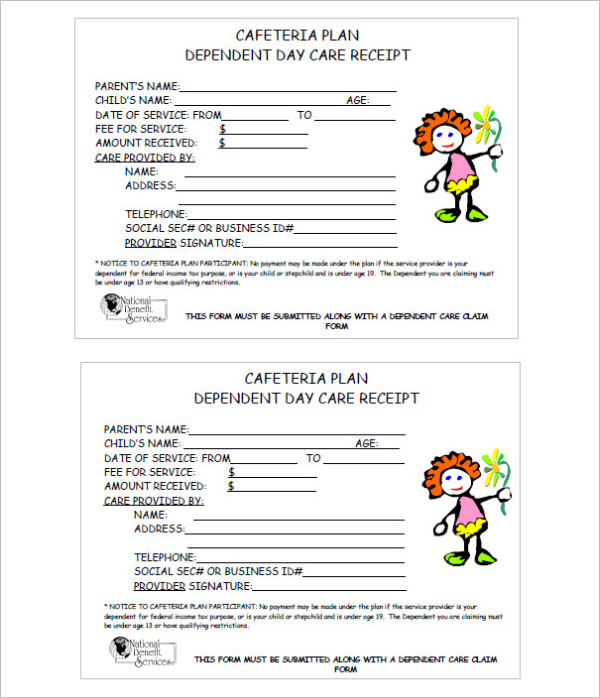 Daycare Receipt Template PDF