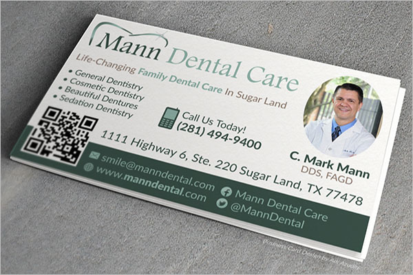 Dental Care Business Card PSD Free