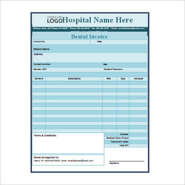 Dental Hygienist Invoice Template