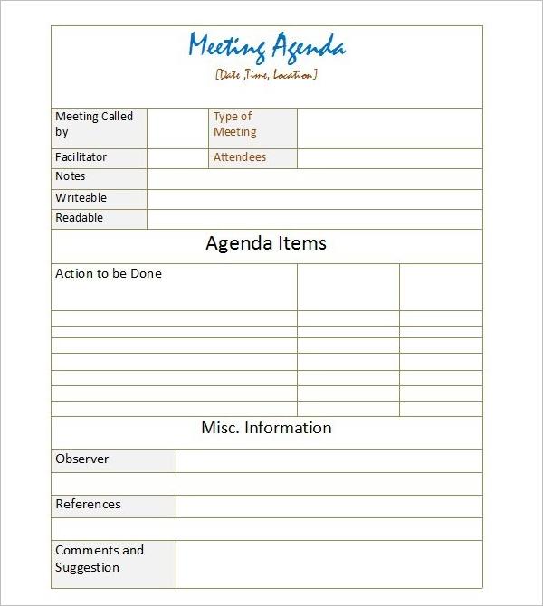 Detailed Meeting Agenda Template