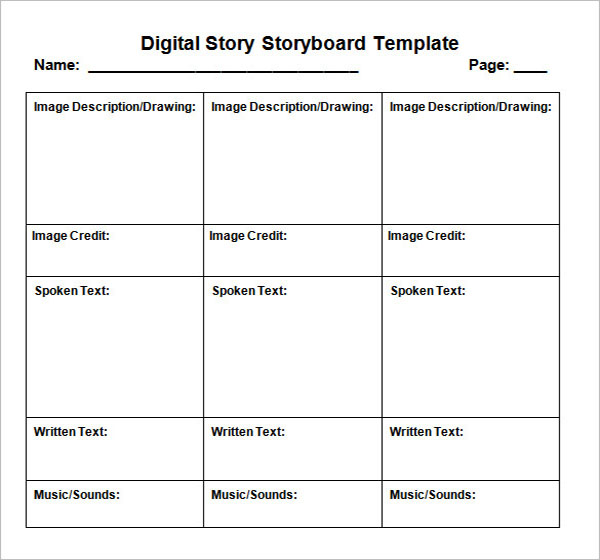 Digital Storyboard Template