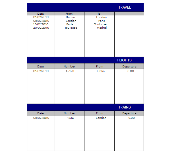 Download Travel Agenda Template