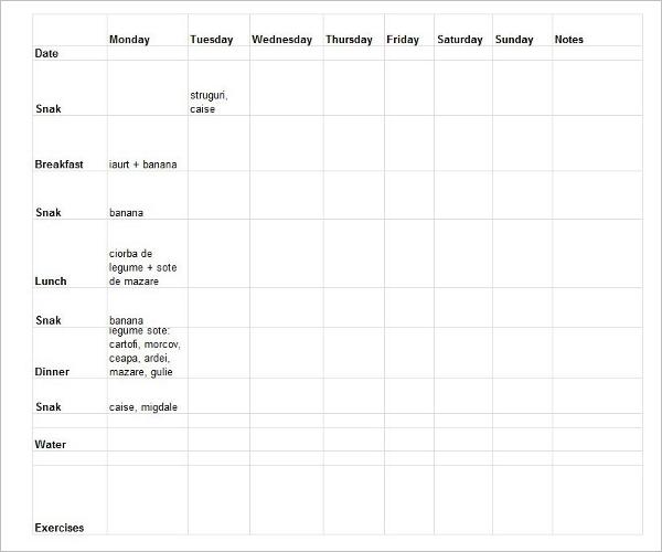 Download Weekly Food Log Template