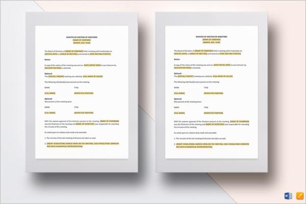 Editable Board Meeting Minutes Template