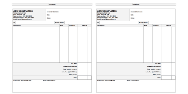 Editable Construction Receipt Template