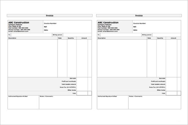 Editable Contractor Receipt Template