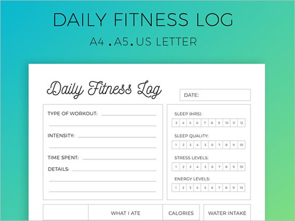 Editable Daily Fitness Log Template