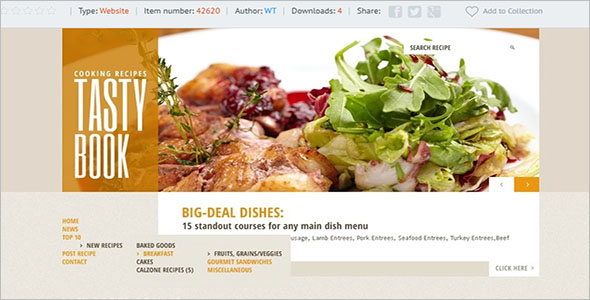 Editable Food Recipes Website Template