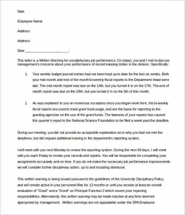 Editable HR Warning Letter Template
