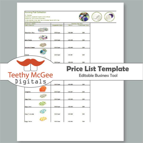 Editable Price List Template