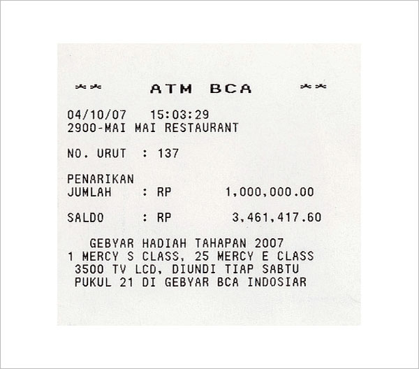 Electronic ATM Receipt Template