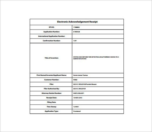 Electronic Acknowledgement Receipt Template