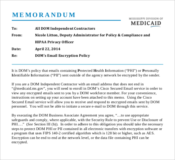 Email Encryption Memo Template