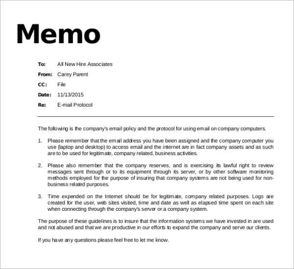 Email Policy Memo Template