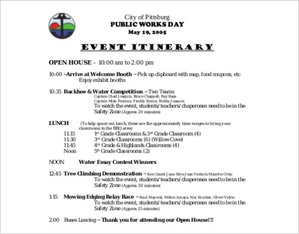 Event Itinerary Template Free Download
