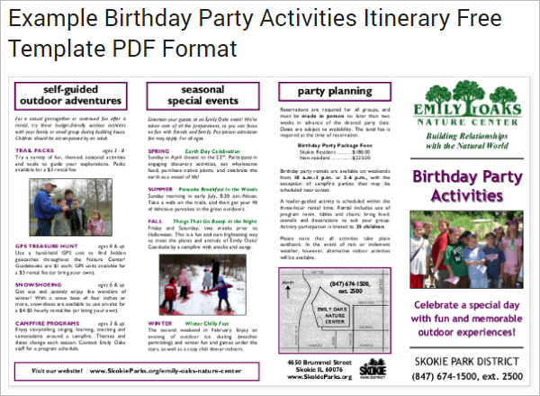 Example Birthday Party Itinerary Template